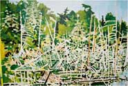 Tree-Bones & Brookies, Courtesy of Beavers. Keeweenaw County, 2006. 30 x 20 in, acrylic on half-inch foam board.